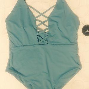 Lulus Myrtle Beach blue Lace-Up One Piece Swimsui